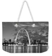 St. Louis Skyline At Dusk Gateway Arch Black And White Bw Panorama Missouri Weekender Tote Bag