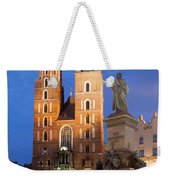 St Mary Basilica And Adam Mickiewicz Monument At Night In Krakow Weekender Tote Bag