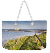 St Marys Lighthouse From Cliff Top Weekender Tote Bag