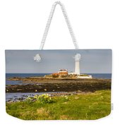 St Marys Lighthouse With Daffodils Weekender Tote Bag