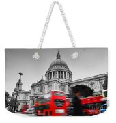 St Pauls Cathedral In London Uk Red Buses In Motion Weekender Tote Bag