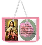 St. Theresa Prayer With Pink Border Weekender Tote Bag