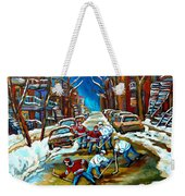 St Urbain Street Boys Playing Hockey Weekender Tote Bag