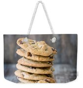 Stack Of Chocolate Chip Cookies With One Leaning Kitchen Art Weekender Tote Bag