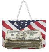 Stack Of Money On American Flag  Weekender Tote Bag