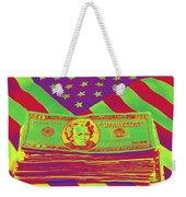 Stack Of Money On American Flag Pop Art Weekender Tote Bag