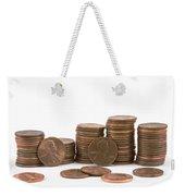 Stacks Of American Pennies White Background Weekender Tote Bag