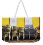 Stacks Of Chairs And Tables Weekender Tote Bag by Carlos Caetano