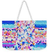 Stained Glass Colorful Cross Weekender Tote Bag