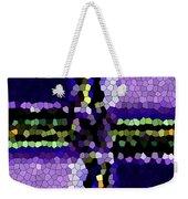 Stained Glass Purple Cross Weekender Tote Bag