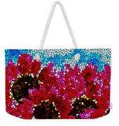 Stained Glass Red Sunflowers Weekender Tote Bag