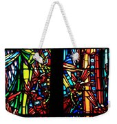 Stained Glass Window At Mont  Le Saint-michel Weekender Tote Bag