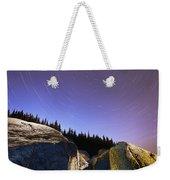 Star Trails Over Rocks In Saguenay-st Weekender Tote Bag