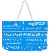 Star Trek Remembered In Blue Weekender Tote Bag by Georgia Fowler