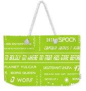 Star Trek Remembered In Green Weekender Tote Bag