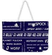 Star Trek Remembered In Navy Blue Weekender Tote Bag by Georgia Fowler