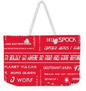 Star Trek Remembered In Red Weekender Tote Bag by Georgia Fowler