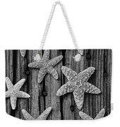 Starfish On Old Wood Black And White Weekender Tote Bag