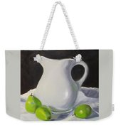 Stark White With Green Weekender Tote Bag