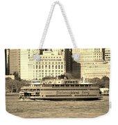 Staten Island Ferry In Sepia Weekender Tote Bag