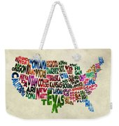 States Of United States Typographic Map - Parchment Style Weekender Tote Bag