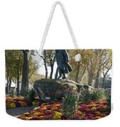 Statue And Flower Bed Across The Street From The Grand Palais Off Of Champs Elysees Weekender Tote Bag