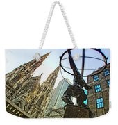 Statue Of Atlas Facing St.patrick's Cathedral Weekender Tote Bag