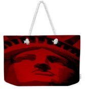 Statue Of Liberty In Red Weekender Tote Bag by Rob Hans