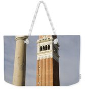 Statue Of Lion Of St. Mark And The San Marco Bell Tower Weekender Tote Bag