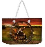 Steampunk - The Gentleman's Monowheel Weekender Tote Bag by Mike Savad