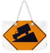 Steep Grade Hill Ahead Warning Road Sign On White Weekender Tote Bag