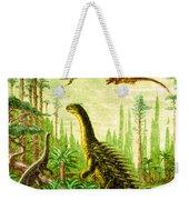 Stegosaurus And Compsognathus Dinosaurs Weekender Tote Bag