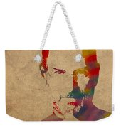 Steve Jobs Apple Ceo Watercolor Portrait On Worn Distressed Canvas Weekender Tote Bag by Design Turnpike