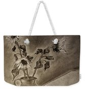 Still Life Ceramic Pitcher With Three Sunflowers Weekender Tote Bag