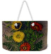 Still Life Ceramic Vase With Two Gerbera Daisy And Two Sunflowers Weekender Tote Bag