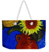 Still Life Clay Vase With Two Sunflowers Weekender Tote Bag