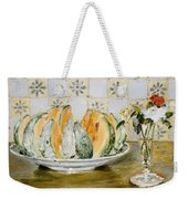 Still Life Of A Melon And A Vase Of Flowers Weekender Tote Bag