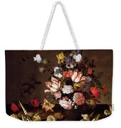 Still Life Of A Vase Of Flowers Weekender Tote Bag