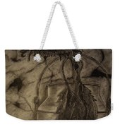 Still Life One Dried Sunflower In Metal Jug Weekender Tote Bag