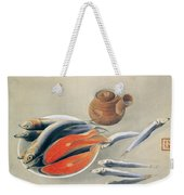 Still Life  Salmon Slices And Sardines Weekender Tote Bag