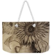 Still Life Two Sunflowers In A Clay Vase Weekender Tote Bag