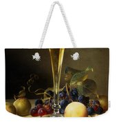 Still Life With A Glass Of Champagne Weekender Tote Bag by Johann Wilhelm Preyer