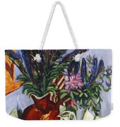 Still Life With A Vase Of Flowers Weekender Tote Bag by Ernst Ludwig Kirchner