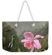 Still Life With An Orchid And A Pair Of Hummingbirds Weekender Tote Bag by Martin Johnson Heade