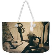 Still Life With Bones Rusty Key Wine Glass Lit Candle And Papers Weekender Tote Bag