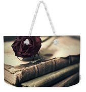 Still Life With Books And Dry Red Rose Weekender Tote Bag