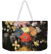Still Life With Flowers, C.1604 Weekender Tote Bag by Georg Flegel