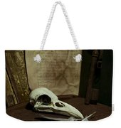 Still Life With Old Books Rusty Key Bird Skull And Feathers Weekender Tote Bag