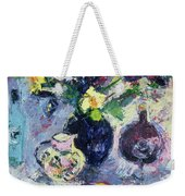 Still Life With Turquoise Bottle Weekender Tote Bag by Sylvia Paul