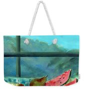 Still Life With Watermelon Oil & Acrylic On Canvas Weekender Tote Bag